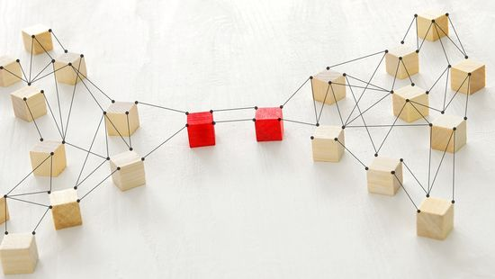 Applying at the HWR Berlin: The photo shows wooden blocks linked by strings, two of them are coloured red and directly linked to each other. Photo: © stockfour/iStock/Getty Images Plus