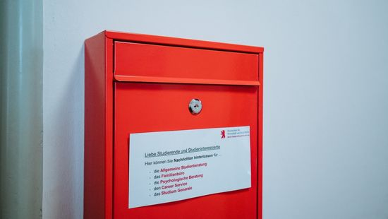 How to apply for your studies: Red mailbox on green wall at the HWR Berlin. Photo: Oana Popa-Costea